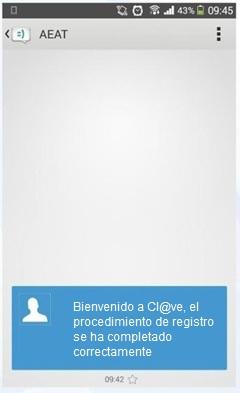 mensaje SMS de bienvenida al sistema Cl@ve