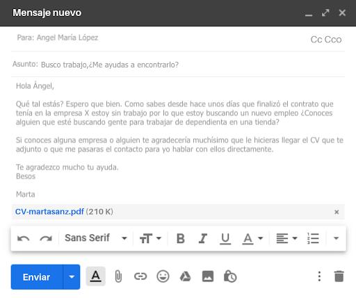 email pidiendo ayuda empleo