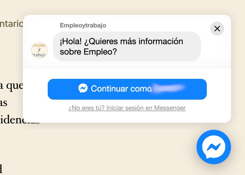 ayuda messenger encontrar trabajo