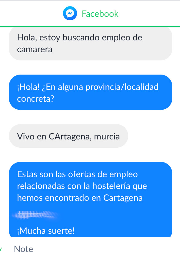 Empleo Facebook messenger